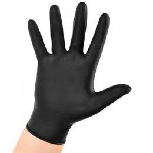 Manusi Nitril Negre Marimea L - GoldGlove Nitril Light Examination Black Gloves Powder Free L, 100 buc